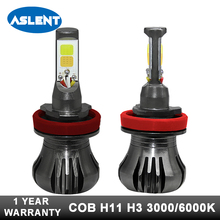Aslent 2pcs Car Fog Light Super White Yellow Blue 3000K 6000K 8000K 12V 80W H11 H8 H9 H3 880 881 Auto Head Lamp Headlight Bulb