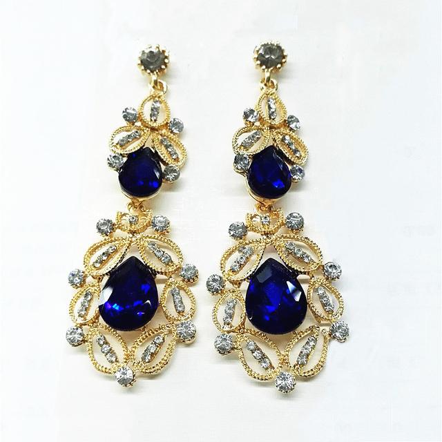 Big long Blue crystal drop earrings