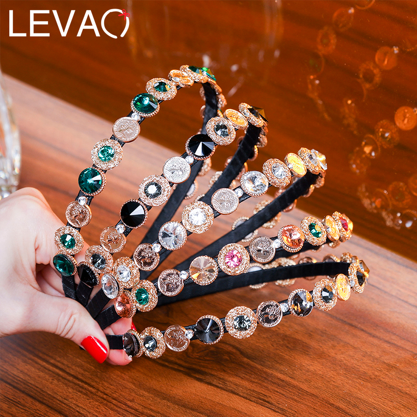 LEVAO Baroque Coins Rhinestone Headbands Temperament Retro Crystal Thin Hair Hoops Girls Alloy Crown Square Rhinestone Hairbands