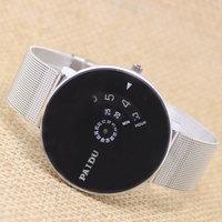 New Men Women Silver Band PAIDU Black Dial Quartz Wrist Watch Turntable Hour Analog Good Quality