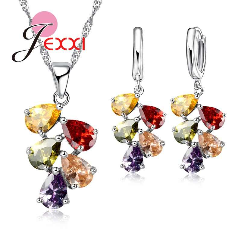 Wedding Bridal Jewelry Sets For Women Multicolored Water Drop Cubic Zircon Necklace Earrings Set Engagement Accessory
