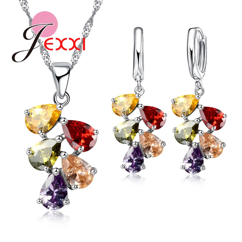 JEXXI Wedding Bridal Jewelry Set Untuk Wanita Warna-warni Water Drop Cubic Zircon Kalung Anting Set Engagement Aksesori