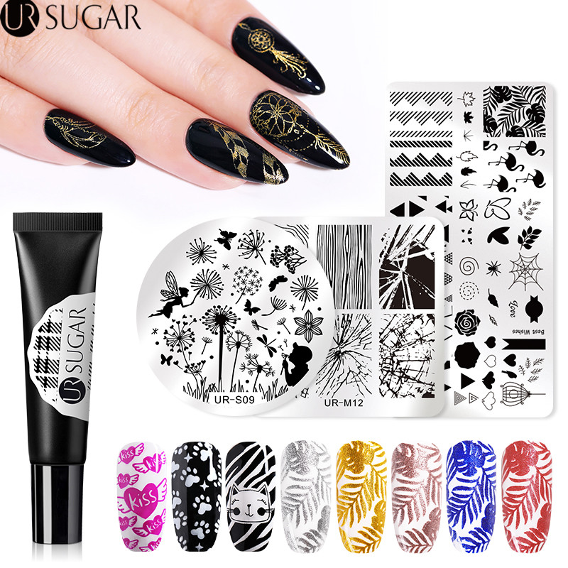 UR SUGAR 8ml Glitter Stamping Gel Polish Colorful Nail Lacquer Soak Off UV Varnish for Art Plate