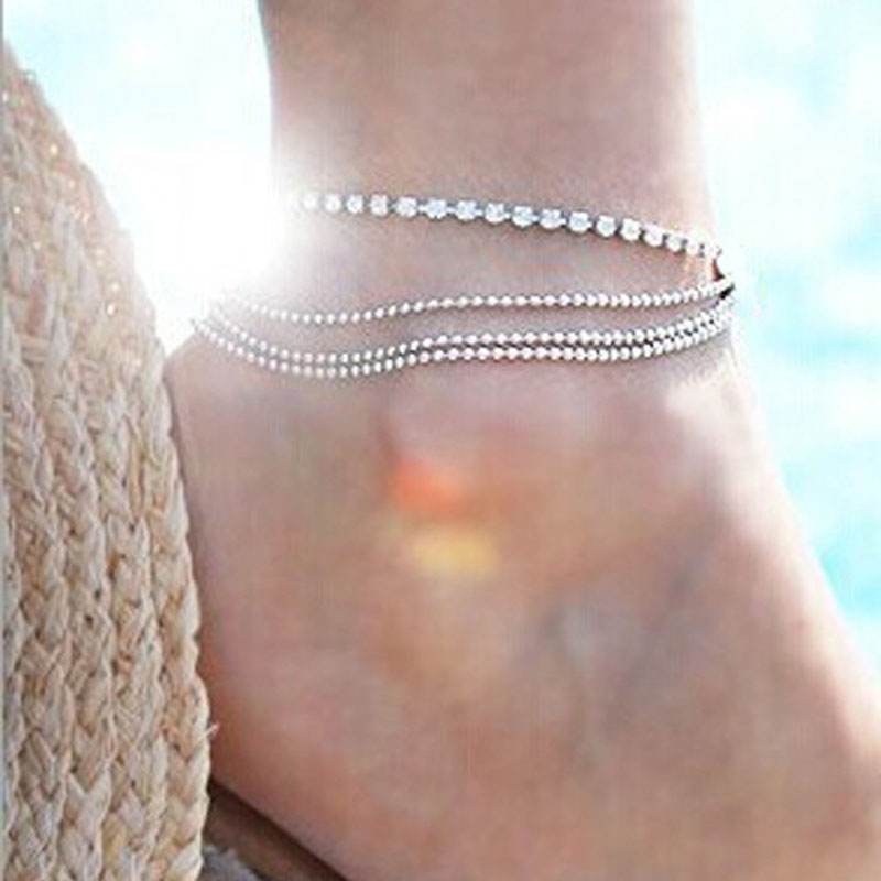AOJUN Summer Beach Ankle Bracelets Crystal Bracelet Chain Foot Jewelry for Women Silver Plated Barefoot Sandals