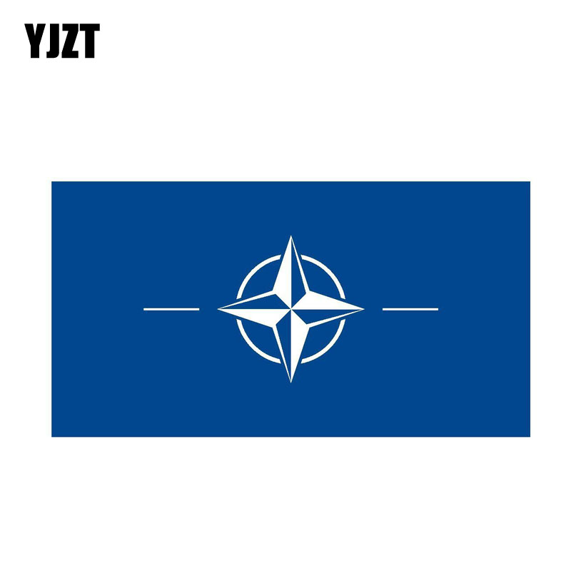YJZT 16.7CM*8.8CM Personality NATO Flag Decal Funny International Bike Car Sticker PVC 6-0451