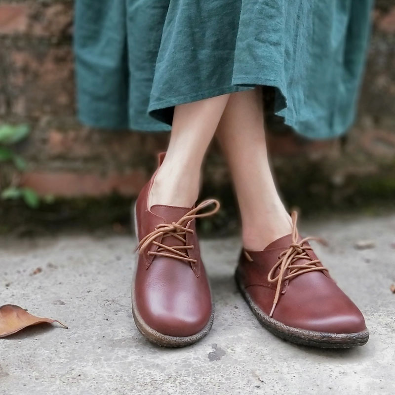 Women Flats Genuine Leather Women Oxford Shoes Round to lace up Ladies Flat Shoes Female Footwear (w168-6) women s shoes flat 100% authentic leather oxford shoes for women round toe lace up ladies flat shoes female footwear 170 1