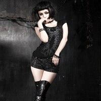 Punk Rave fashion Womens Summer gothic Visual Kei Skull Print Cotton Tee T Shirt Top T285