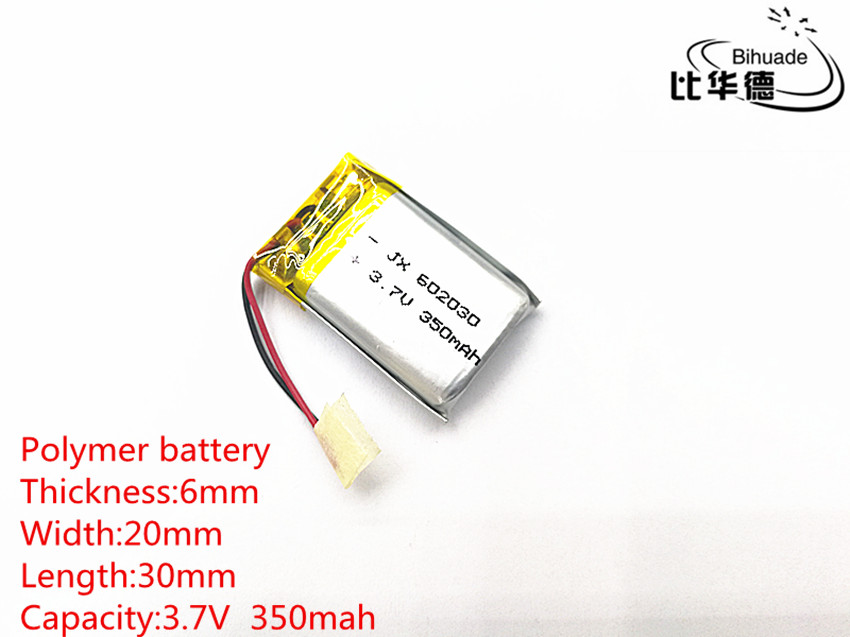 3.7V 350mAh 602030 Lithium Polymer Li-Po li ion Rechargeable Battery cells For Mp3 MP4 MP5 GPS PSP mobile bluetooth