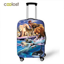 Animal horse / lion / cat / dog Print Luggage Covers Travel Accessories Elastic Suitcase Dust Cover Apply to 18''-28'' Suitcase(China)