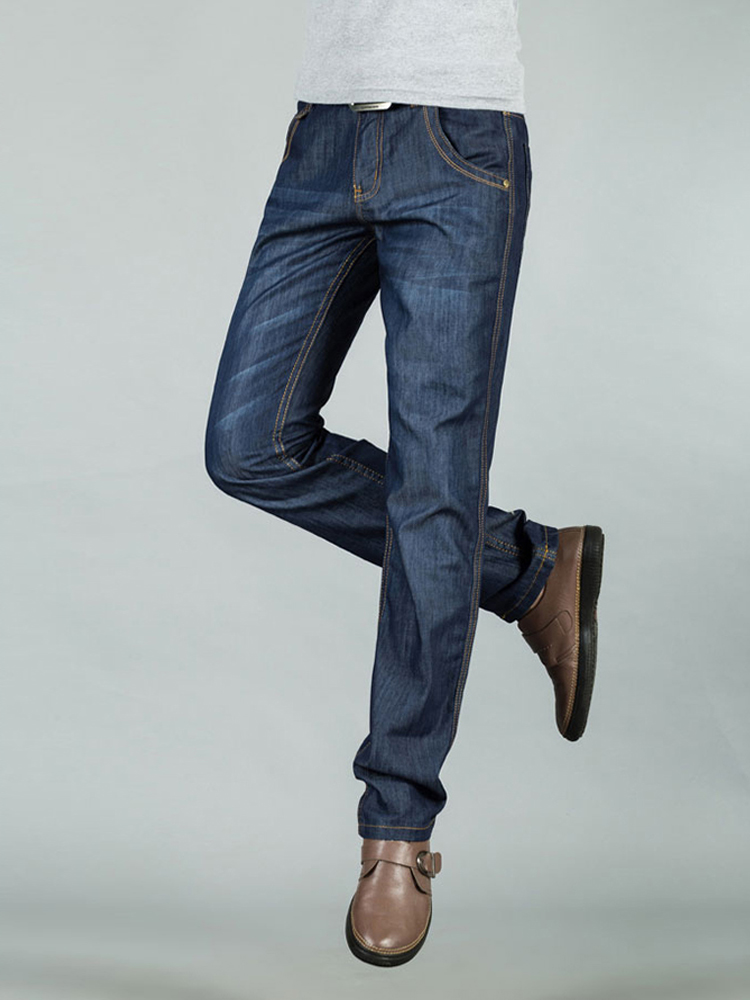 Men Jeans straight Pants Stretch Winter Casual Slim Leg Fleece Heat Insulated Skinny Boys Male Denim Blue Black Male Hombre