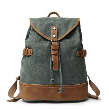 YUPINXUAN Canvas Leather Backpacks for Men Vintage Waterproof Laptop Daypacks Teenagers String School Bags Designer Rucksacks