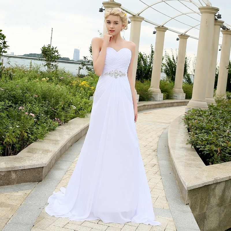 ADLN Stock Chiffon Wedding Dresses with Rhinestones Robe de Mariage Sweetheart vestido de noiva Cheap Beach Bridal Gowns