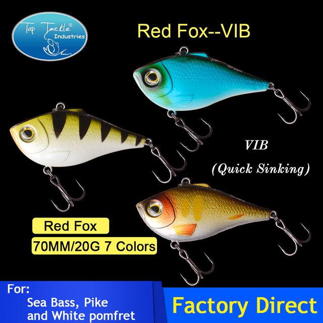 Free Shipping fishing lure red fox Vibration  70mm 20g 7colors bait vib