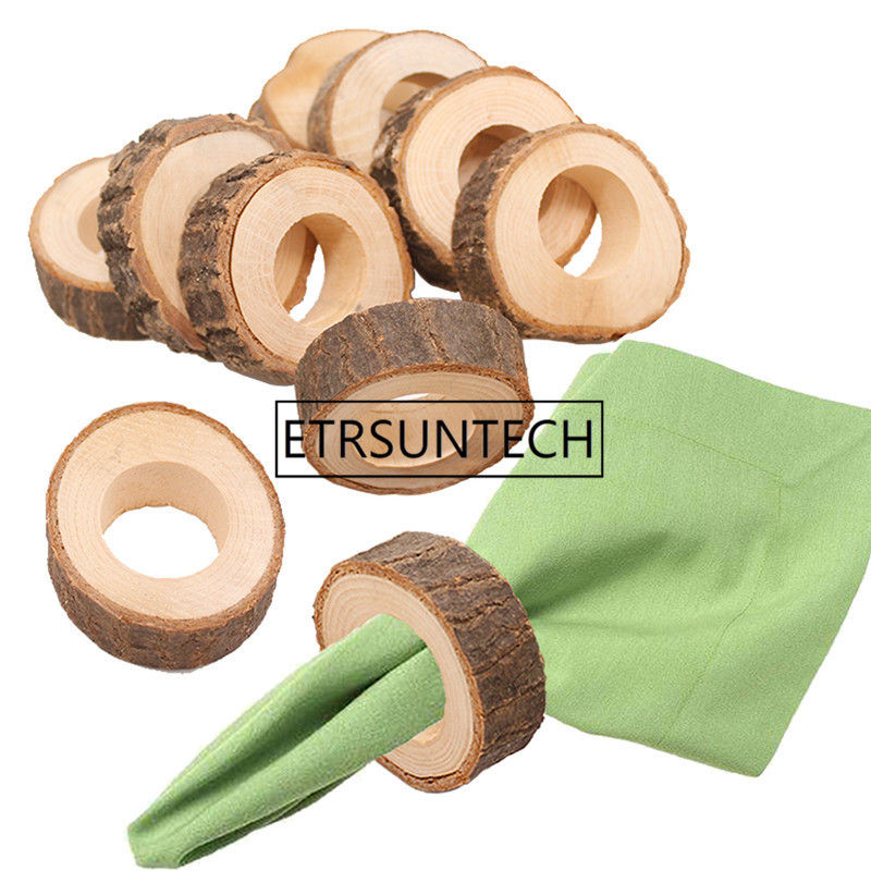 200pcs lot Natural Creative Wooden Unfinished Circle Wood Pendants Napkin Ring for Craft Making Hotel Table