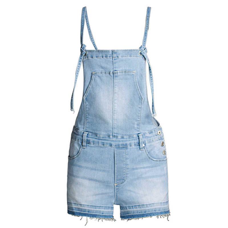 Модные комбинезоны Для женщин s комбинезон светло голубой выбеленный комбинезоны для Для женщин джинсовые короткие костюмы комбинезон женский en jean Монос mujer