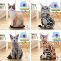 High Quality 100% Brand New1 pc 50cm Stuffed 3D Simulation Cat Pillow 4 Styles Funny Gray Cat Toy Lovely Cat Drop Shipping