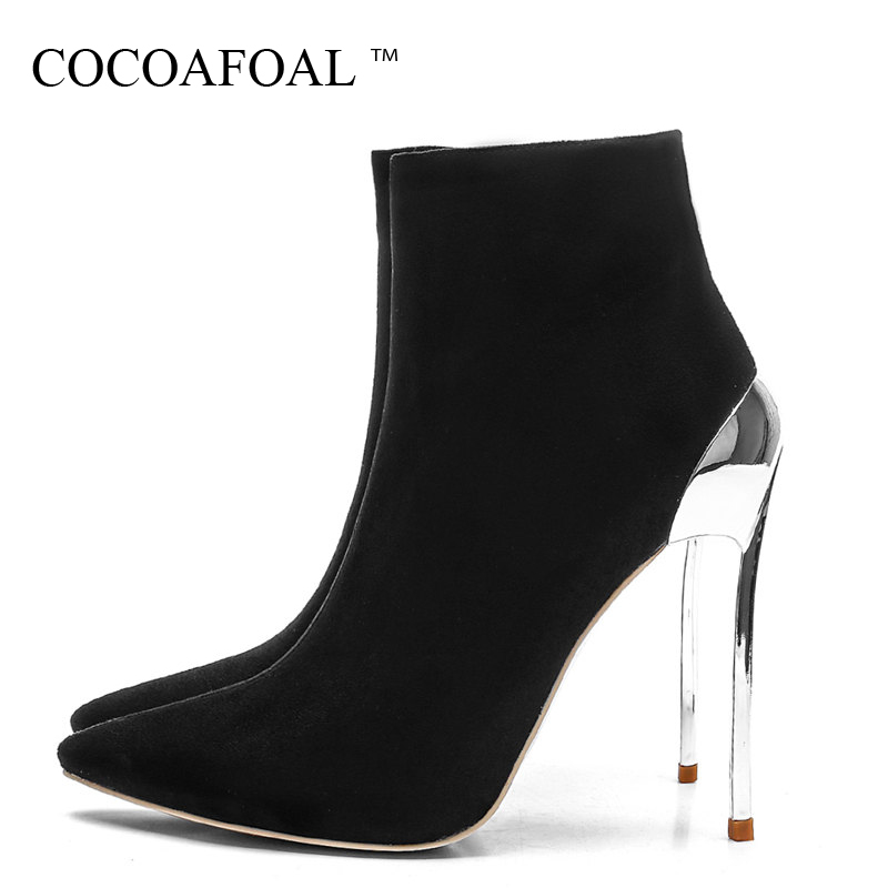 COCOAFOAL Womens Heels Chelsea Boots Sexy Autumn Winter Woman 12 CM High Heel Shoes Black Fashion Sexy Pointed Toe Boots 2018COCOAFOAL Womens Heels Chelsea Boots Sexy Autumn Winter Woman 12 CM High Heel Shoes Black Fashion Sexy Pointed Toe Boots 2018