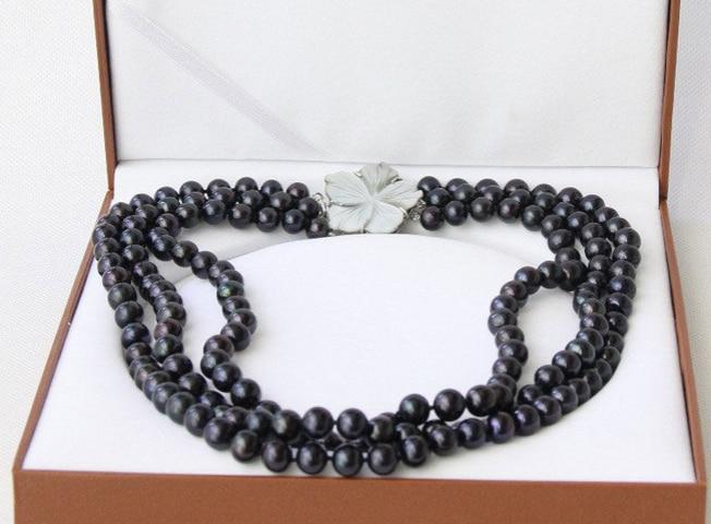 N1544 3row 9-10mm rond noir perle D'eau Douce collier coquillage fermoir N Remise NEW