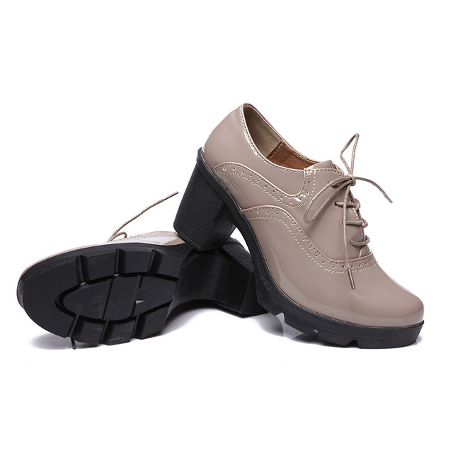 63a45f0ad5e Brand Spring autumn Women Platform Shoes Woman Brogue Patent Leather Flats  Lace Up Footwear Female Flat Oxford Shoes For Women