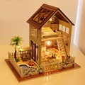 Home Decoration DIY 3D Doll House Wooden Doll Houses Miniature DIY Dollhouse Furniture Kit Paris Villa LED Lights Music Gift
