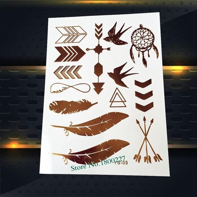 1pc Gold Flash Metallic Tattoo Feather Waterproof Dreamcatcher