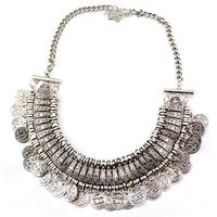 Bohemian Ethnic Tribal Silver Coin Tassel Choker Necklace Belly Dancing Jewelry