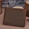 NEWEEKEND 6004 Vintage Натуральная Кожа Топ Корова Кожа Crazy Horse 2 складки Коричневый Короткие Card Наличными Монета Фото Бумажник Кошелек для Мужчин