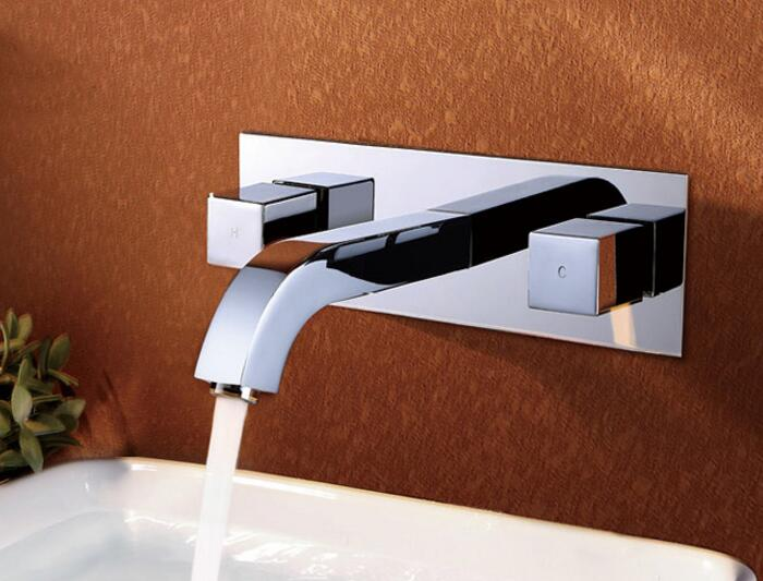 Free shipping Bath Brass Mixer Basin Tap Bath Tub Sink mixer Square Basin Mixer Tap In wall Basin Faucet,Chrome Finish BF365 us free shipping wholesale and retail chrome finish bathrom sink basin faucet mixer tap dusl handle three holes wall mounted