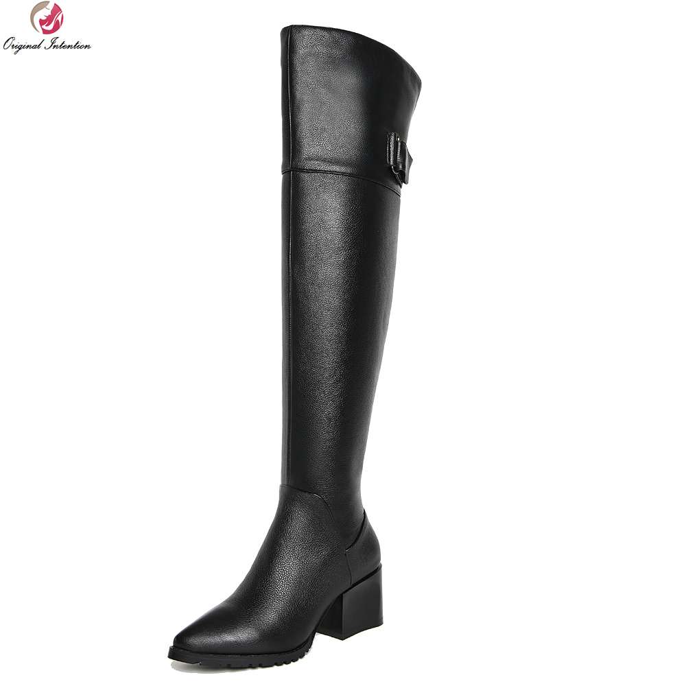 Original Intention High-quality Women Over-the-Knee Boots Cow Leather Pointed Toe Square Heels Black Shoes Woman US Size 4-10 original intention elegant women over the knee boots fur cow leather pointed toe thin heels boots shoes woman us size 4 8 5