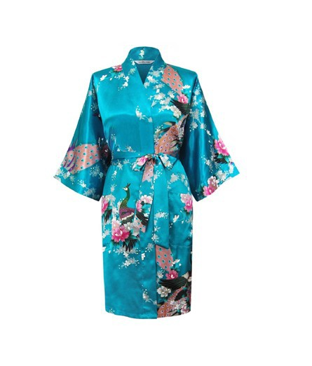 Hot Sale Lake Blue Female Satin Kimono Gown Classic Style Bathrobe Printed Peacock&Floral Sleepwear Size S M L XL XXL XXXL