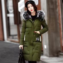 Cotton clothing female long section winter Korean version of the thick warm fur collar coat wild cotton jacket