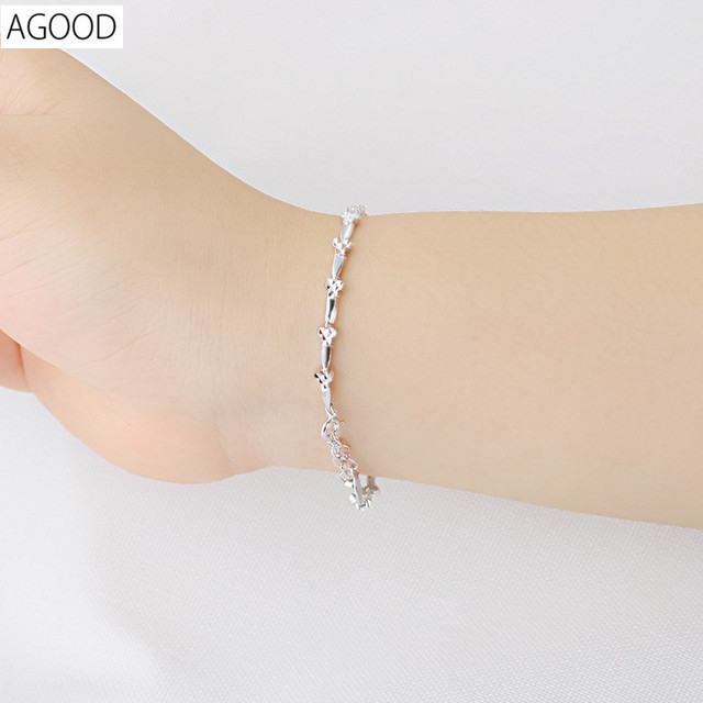 AGOOD 925 sterling silver jewelry bracelets & bangles for women love heart pulseira masculina femme pulseras mujer purre chain