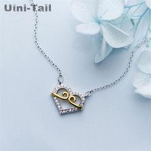 Uini-tail novo quente 925 prata esterlina em forma de coração micro-embutimento colar estilo chinês charme apertado doce tendência jóias ed129