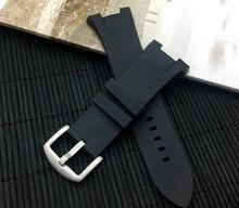 Di alta qualità di gomma naturale del cinturino del silicone per Armani Per AX1803 AX1802 watch band strap cintura con fibbia in acciaio 22 millimetri logo su