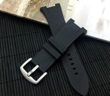 Top Kwaliteit Natuur Rubber Siliconen Horlogeband Voor Armani Voor AX1803 AX1802 Horloge Band Riem Riem Roestvrij Gesp 22 Mm Logo op