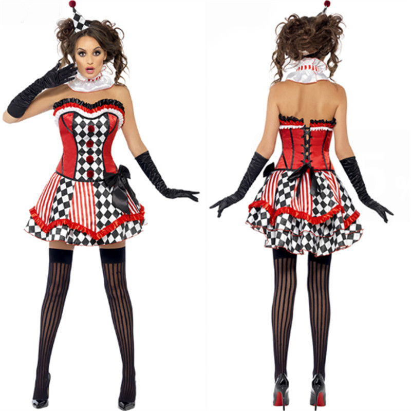 high quality Sexy Circus Clown Costumes Halloween Party 2016 New Adult Womens Fancy Clown Dress Poker Princess Cosplay clothing