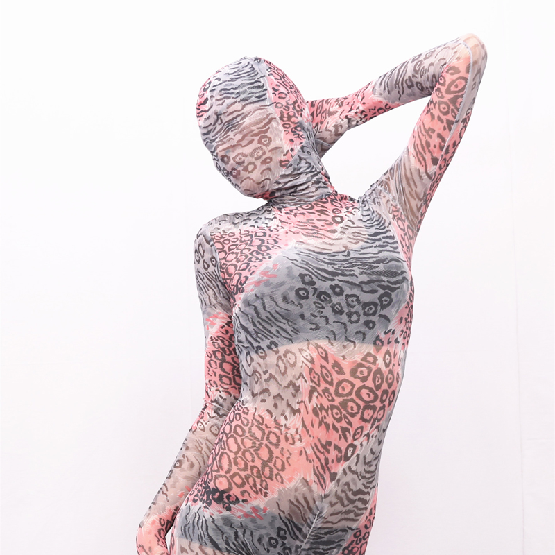 (MS015) Women sexy high elastic lycra grenadine full body catsuit/tights female fetish pattern half perspective zentai suit