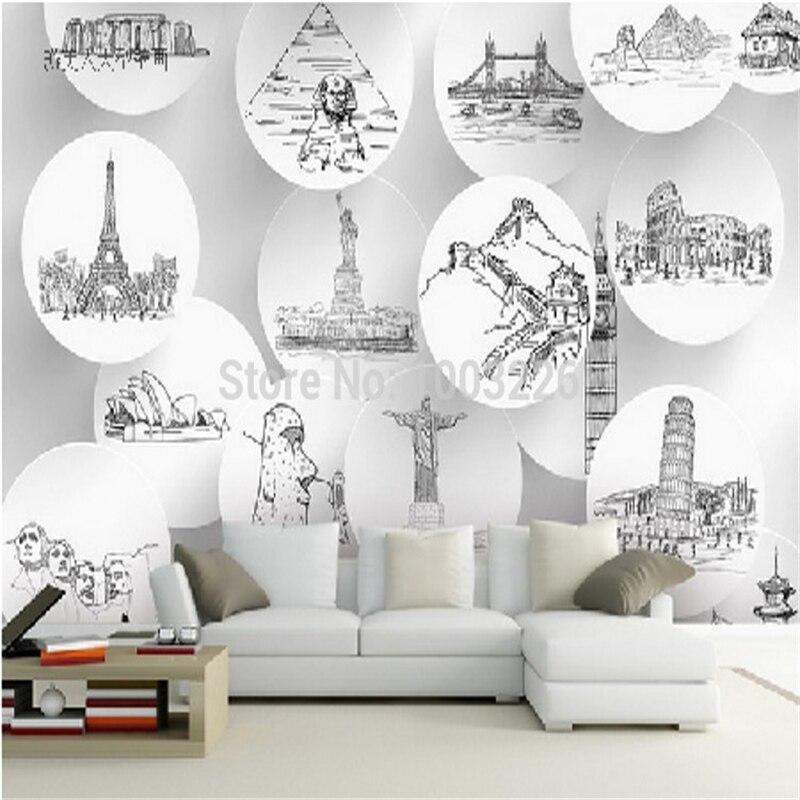 ∞Beibehang Mundo marcos históricos Da Cidade sala de estar Tv fundo ...