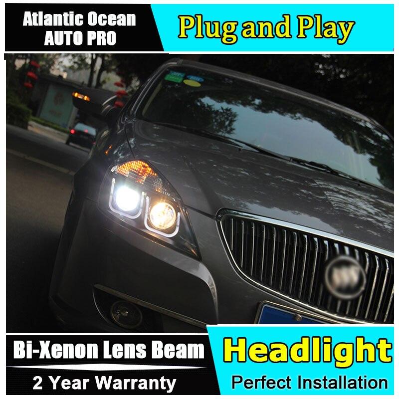 Auto Lighting Style LED Head Lamp for Buick Excelle led headlights 2010-2015 HID KIT LED Bi-Xenon Lens angel eye low beam