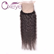 Brazilian Silk Base Closure With Baby Hair Kinky Straight 7A Kinky Straight Silk Base Closure Middle/Three/Free Part 3 Color