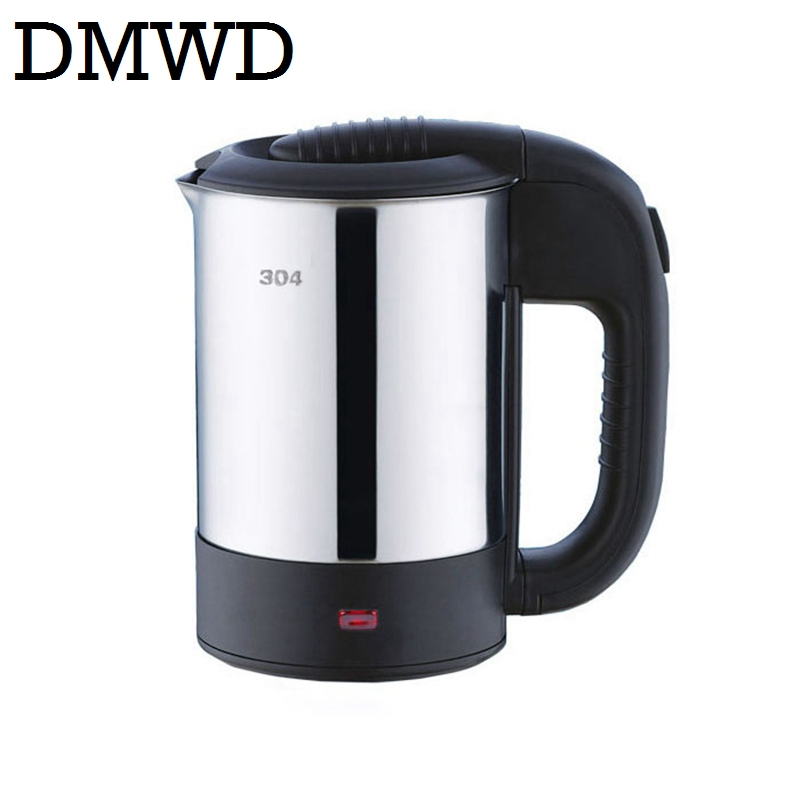 DMWD Dual Voltage Travel electric Heating Kettle MINI teapot cup water heater Portable stainless steel tea pot boiler 110V-230V high quality electric kettle double wall insulation quick heating digital electric thermos water boiler home appliances for tea