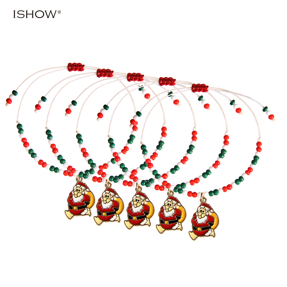 5 pcs Christmas gifts For women Santa Claus statement seed beads bracelet cute white rope chain bracelets pulseiras mujer
