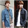 Mais baixas vendas! Coreano homens cultivar algodão camisa jeans de manga comprida tamanho grande