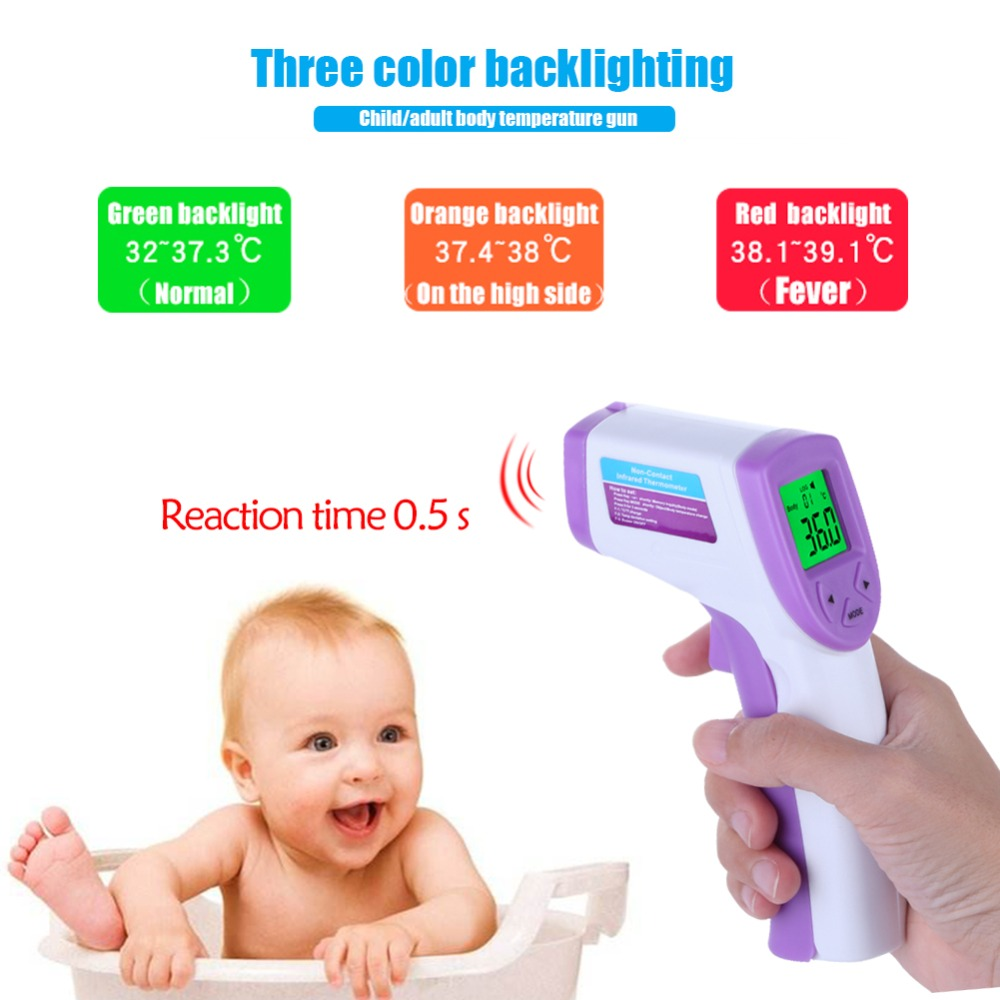 1Pcs Digital Red Laser Infrared Thermometer Non-Contact IR Pyrometer LCD Temperature Gun Back Light For Children/ Adult