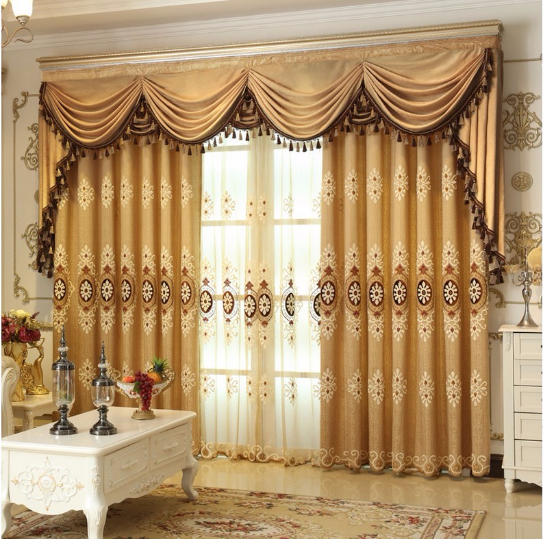 europe style curtains luxury embroidered curtains for living room modern window curtain valance for bedroom - Valances For Living Room