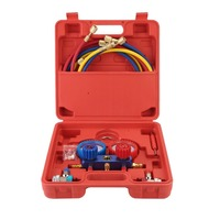 Air Conditioning AC Diagnostic High Low Pressure Manifold Gauge Refrigerant Tool Set R 134A With Carry Box