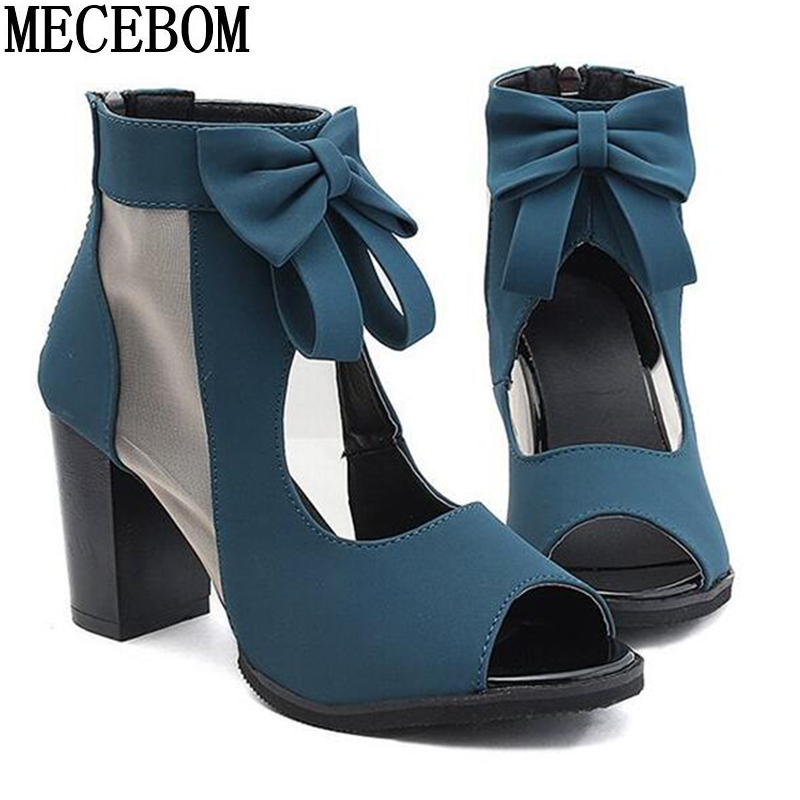 Women Pumps High Thick Black Heels Ladies Shoes Riband Butterfly Knot Zipper Open Toe Casual wedding Party Dress Sandals 0405W 6