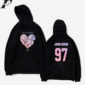 BTS Loveyourself Kpop Broken Heart Oversize Hoodies Sweatshirt Women Hoodie  97 JUNG KOOK Spring Casual Printing Clothes coats sweatshirt
