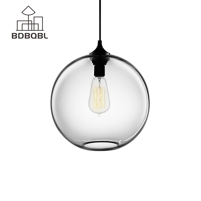 BDBQBL Glass Ball Pendant Lights Modern Style Pendant Lights Fixtures for Kitchen Restaurant Dining/Living Room 7 Colors