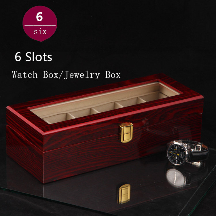 (Special Price) 6 Grids Watch Storage Box Top Quanlity Organizer Light Red MDF Watch Box Jewelry Watch Display Gift Case D026 fashion luxury wood watch box top quanlity durable watch storage case original brand watch display boxes jewelry gift box w058